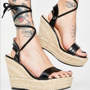DOLLS KILL Liliana platform sandal wedges